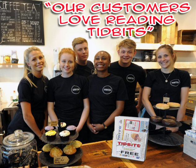 Coffee Shop Staff with Tidbits rack